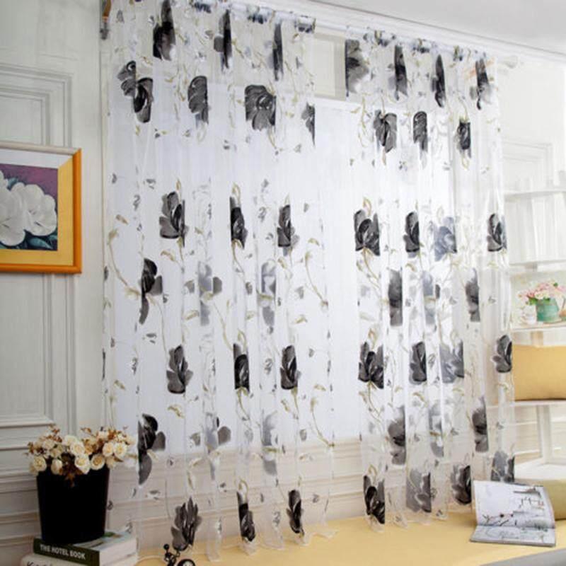 BeautyMaker Bunga Kain Pual Sheer Panel Jendela Tirai Pintu Divider Menggantungkan Romantis Sheer