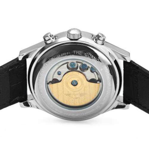 GUANQIN MALE LEATHER TOURBILLON AUTOMATIC MECHANICAL WATCH WITH CALENDAR DISPLAY 30M WATER RESISTANT TWO MOVING SUB-DIALS (BLACK GOLDEN BLACK)