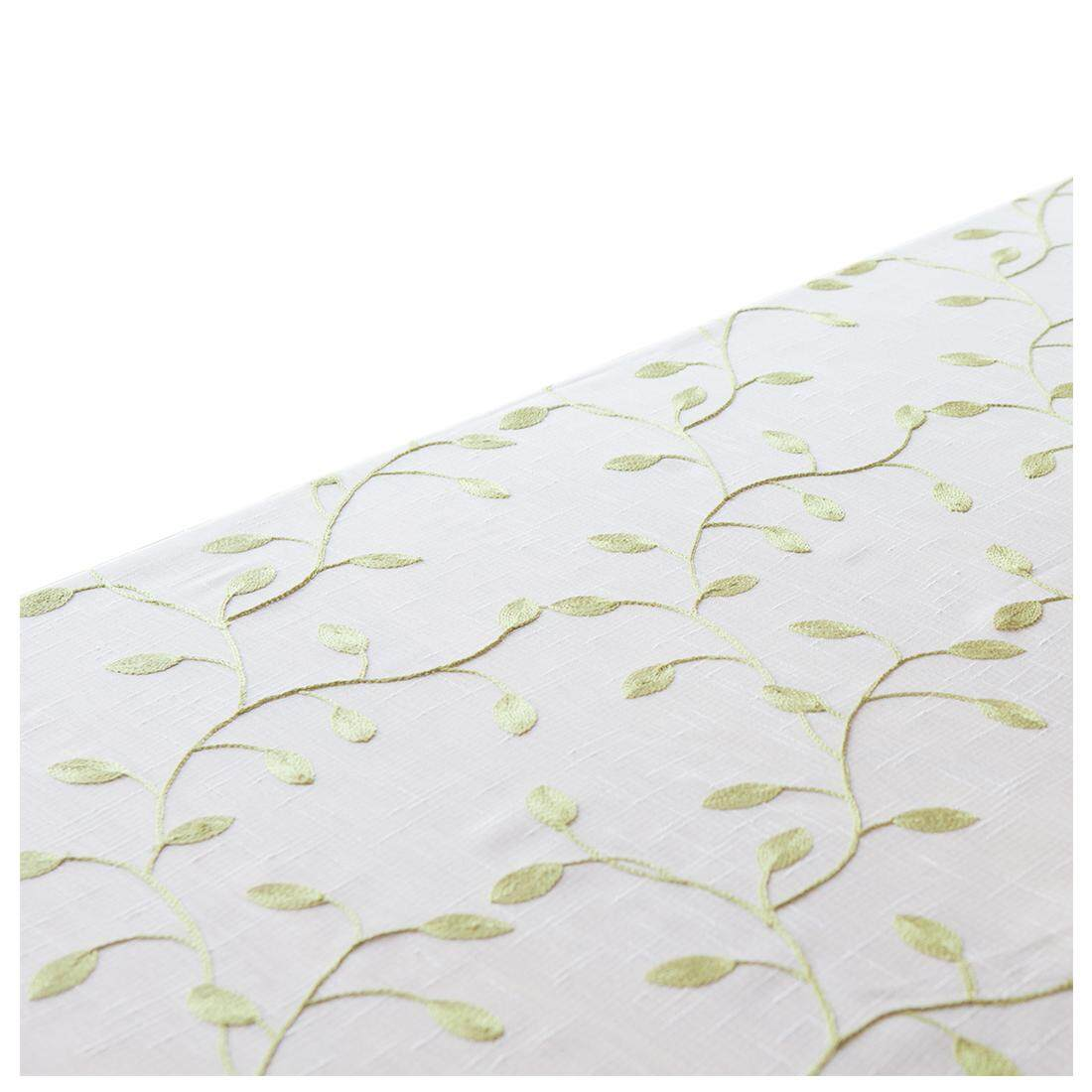 Polyester Tablecloth Leaf Table Cover for Dinner Kitchen White bottom green leaves, 90*90cm