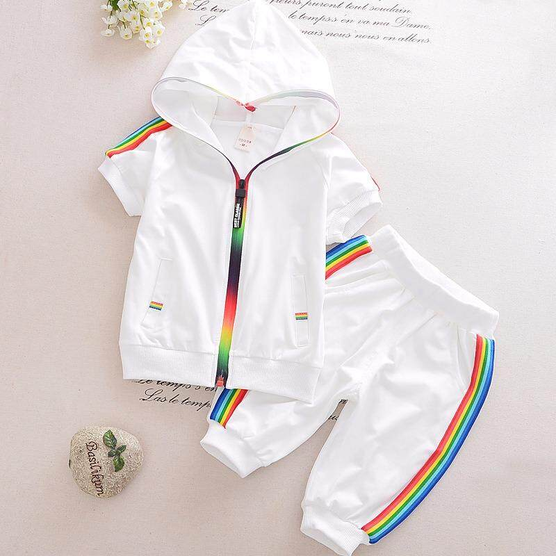 Get The Best Price For Kid Boy G*rl Clothes Sportswear Summer 2018 Fashion Short Sleeve Colorful Zipper Hooded Clothing For Girls Children Outfit Set Intl