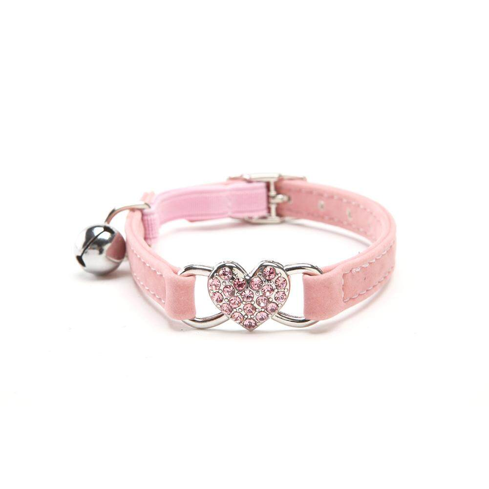 Moonar Heart Charm And Bell Cat Dog Safety Elastic Adjustable With Soft Velvet Material Small Collar ( Pink ) By Moonarstore.