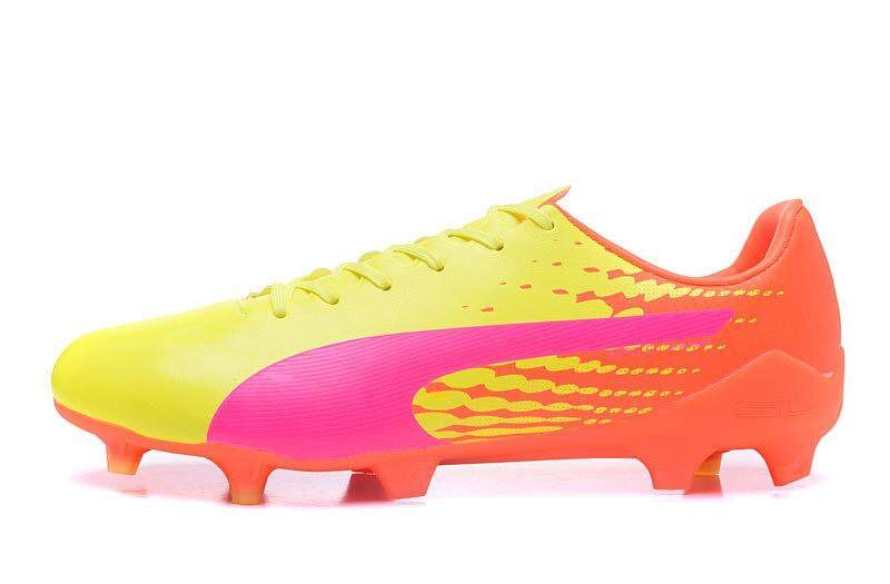 New Football Shoes evoSPEED 1.7 SG FG AG Soccer Mens Size 39-45 Outdoor Football Sneakers TPU BD26-4 (Yellow/Orange/Pink) - intl