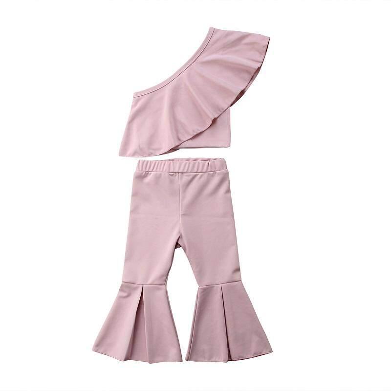 ... Bayi Anak-anak Perempuan Satu Bahu Ruffle Atasan Lonceng Kasual Panjang Celana Outfits Set ...