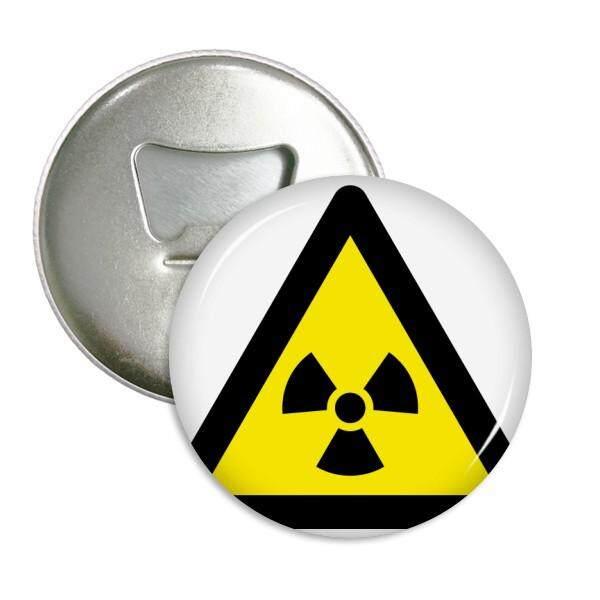 Simbol Peringatan Kuning Hitam Ionisasi Radiasi Segitiga Putaran Pembuka Botol Magnet Kulkas Pins Lencana Tombol Hadiah 3 Pcs-Internasional