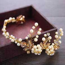 Berlian Imitasi Kabel Emas Ikat Kepala Perhiasan Rambut Tiara Pengantin Pernikahan Mahkota Aksesoris Rambut-Intl