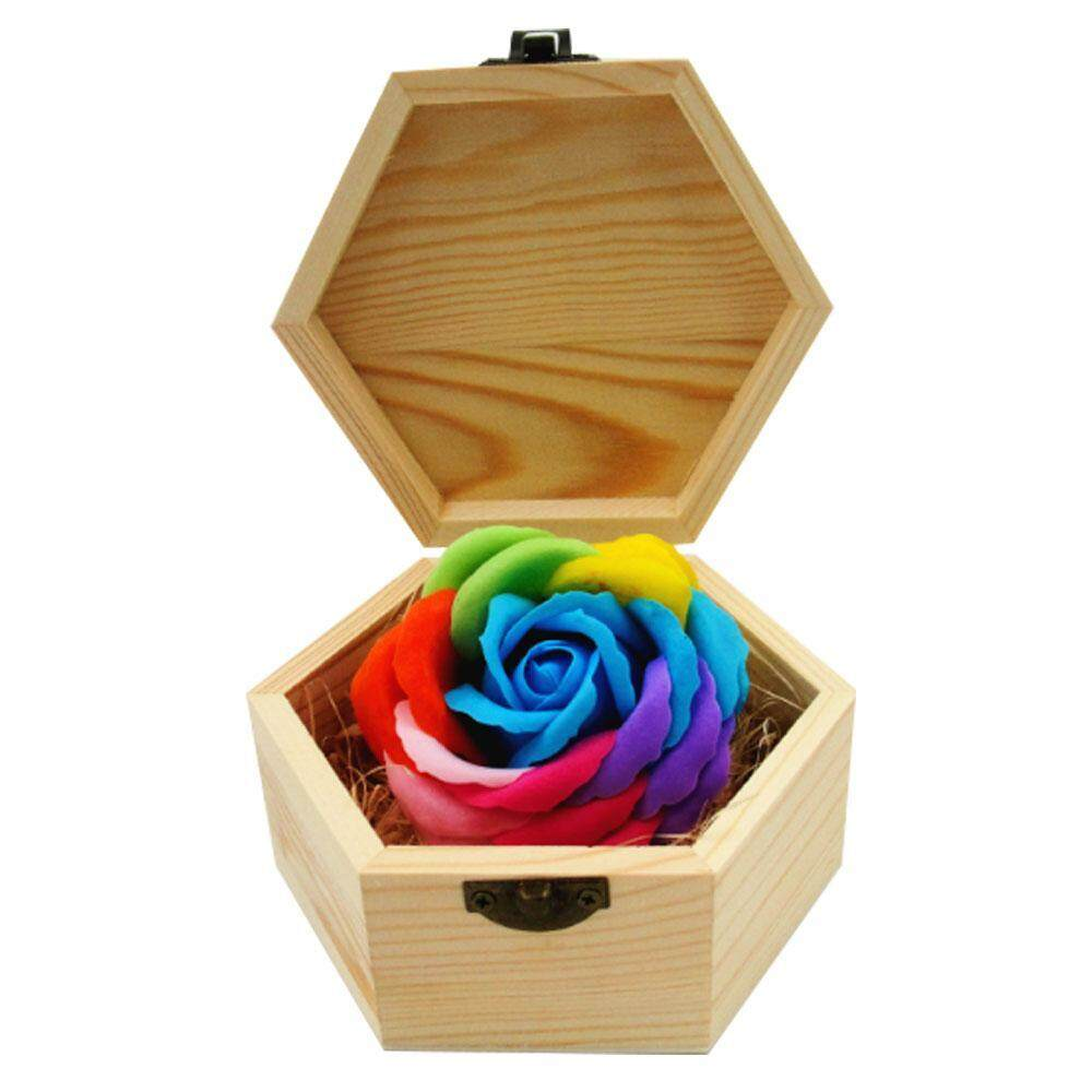 opoopv Handmade Rainbow Rose Soap Simulation Flower With Hexagon Wood Box For Birthday Present Valentines Day Gifts Home Decorations - intl