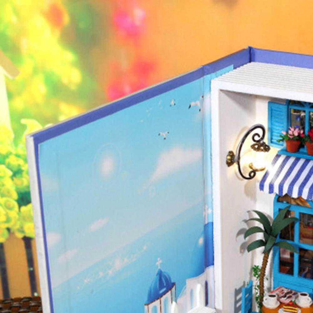 DSstyles Dollhouse Miniature DIY House Book Wood Cute Tea Cafe House with LED Furniture Kit Girl Gift Toy, Summer Vacation Diary - intl