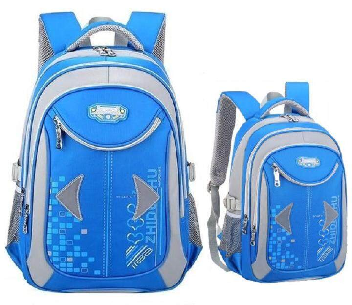 Grey Blue Light Reflect Kids Primary School Bag ( free pencil case)