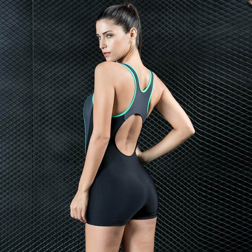 a397f5f320 Women Sports One Piece Swimsuit Swimwear Backless Shorts Bodysuit Splice  Racing Training Bathing Suit Monokini -