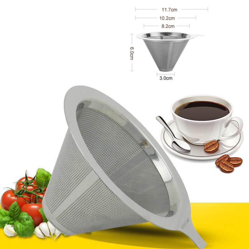 Hình ảnh Stainless Steel Pour Over Cone Coffee Dripper Double Layer Mesh Filter Paperless Home Kitchen Coffee Shop Coffee Brewing Helper - intl