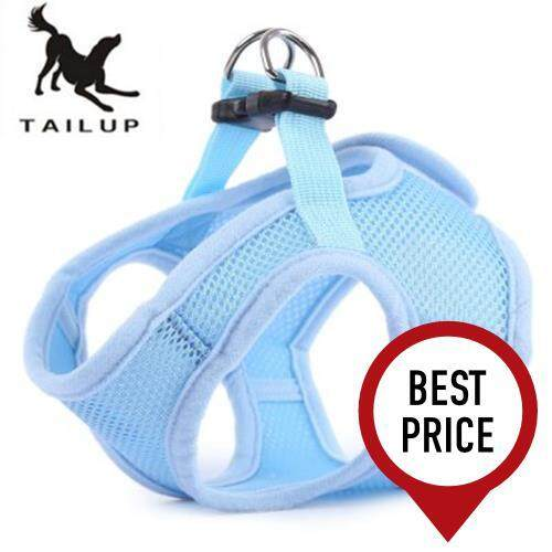 TAILUP PET DOG SOFT MESH WALKING COLLAR STRAP VEST APPAREL (BLUE)