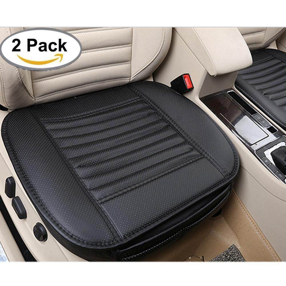 Woowof Edge Wrapping Car Front Seat Cover 2pcs Universal Breathable Pu Leather Bamboo Charcoal Auto Office Interior Seat Protector Cushion Pad Mat