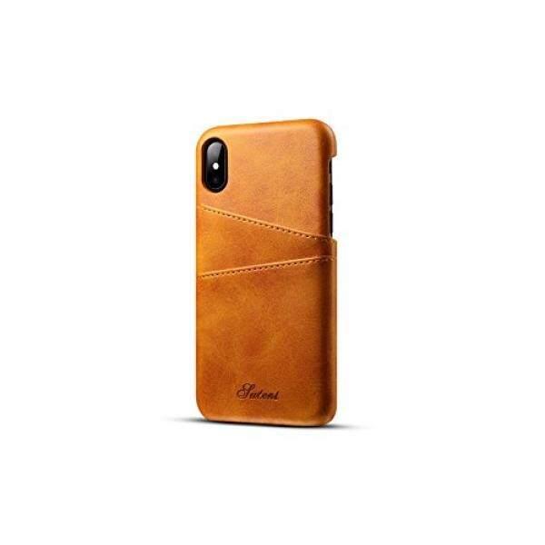 Telepon X Kartu Kulit Sarung, ramping Profesional iPhone 10 Sarung dengan 2 Slot Pemegang Kartu Minimalis Dompet Kulit Sintetis Case-Internasional