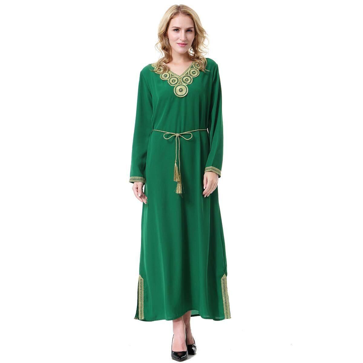 Wanita Lengan Panjang Desain Stiker Appliques Hem Split Muslim Abaya Gaun Pakaian Islami Pakaian Antik Musim Panas Pesta Koktail Gaun Malam Gaun besar Gaun untuk Ramadan Wanita Muslim S-3XL-Internasional