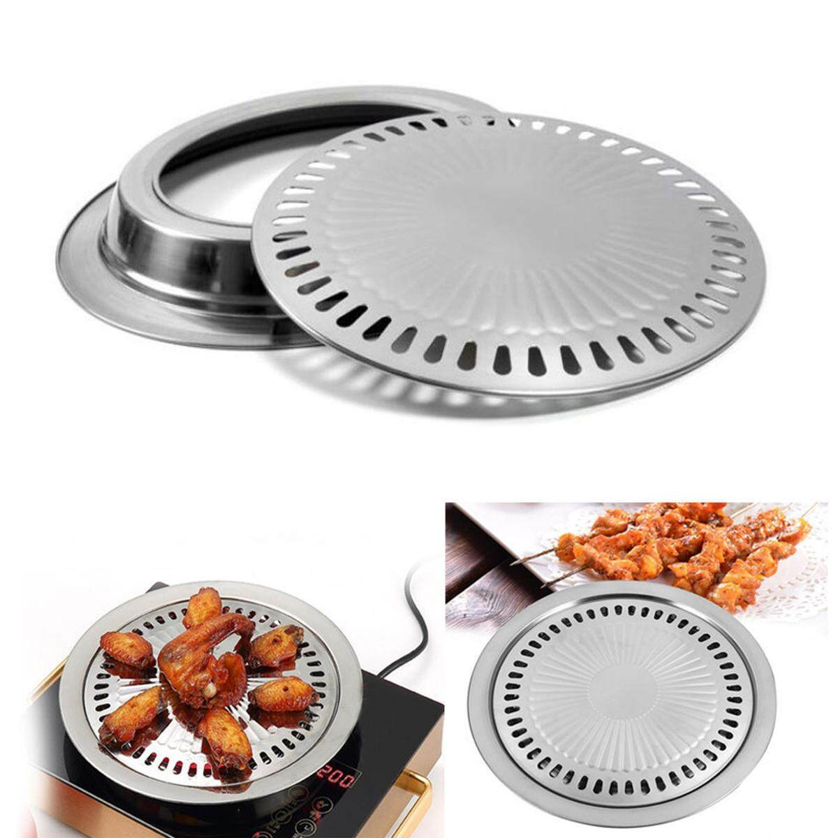 Indoor Outdoor Bbq Smokeless Stovetop Grill Non-Stick Roasting Pan Round Grill - Intl By Teamwin.