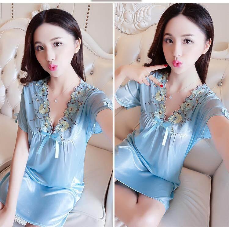 Bolster Store Ladies Women Sleepwear Sexy Lingerie Pajamas Long Dress Skirt With Sleeve Flower Flora Silk Comfortable Wear Pyjamas