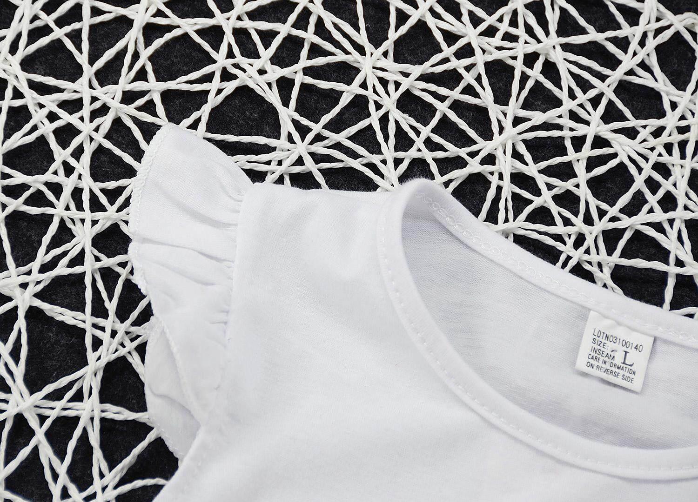 ... Children Lucu Gadis Mouse Kepala 2 Pcs Set Gaun Putih Katun Without Lengan T-Kaus