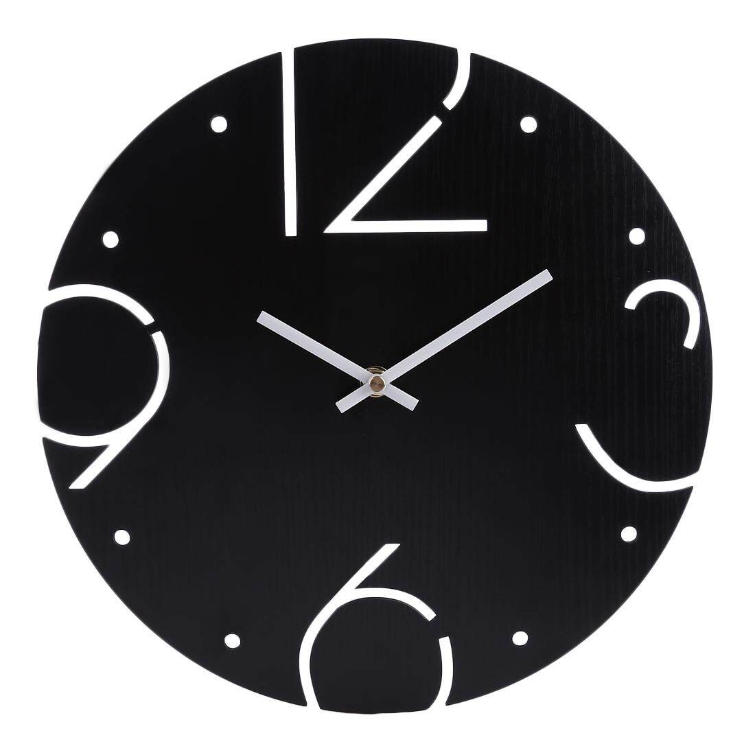 360DSC Interesting Number Noiseless Wall Clock Round Shape Silent Battery Operated Hanging Clock - Black - intl