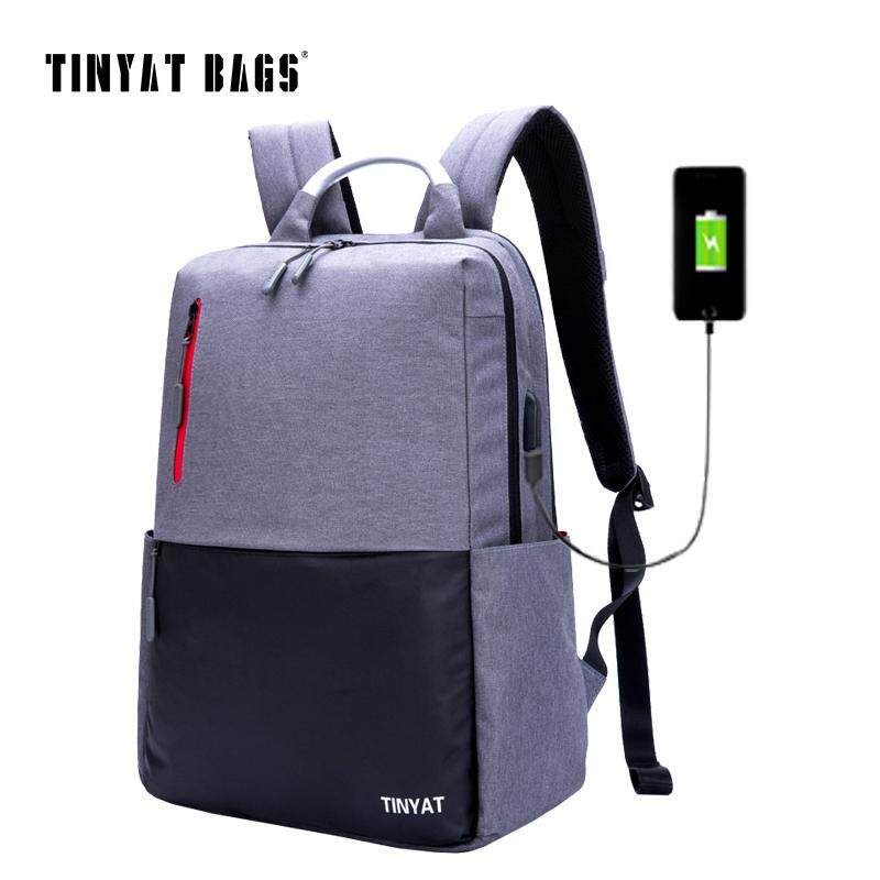 TINYAT Mens 15.6inch Laptop Backpack Computer USB charge Mochila School Backpack For Teenagers Male Gray Canvas Bagpack T811 Malaysia