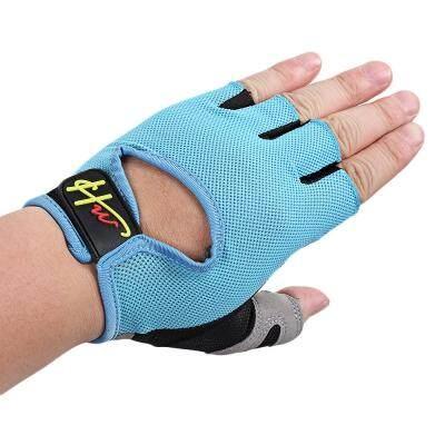 Half Finger Gloves Anti-skid for Sports Gym Riding Climbing (DEEP SKY BLUE)