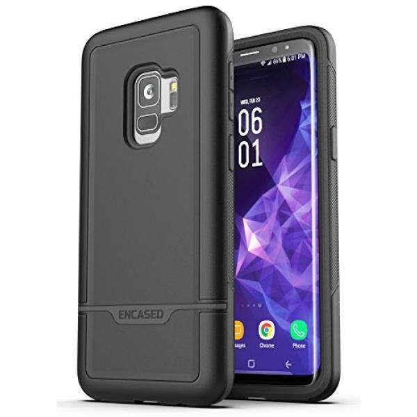 Galaxy S9 Tough Case, Encased [Rebel Series] Rugged Case for Samsung Galaxy S9 (2018 Release) Military Spec Armor Protection (Smooth Black) - intl