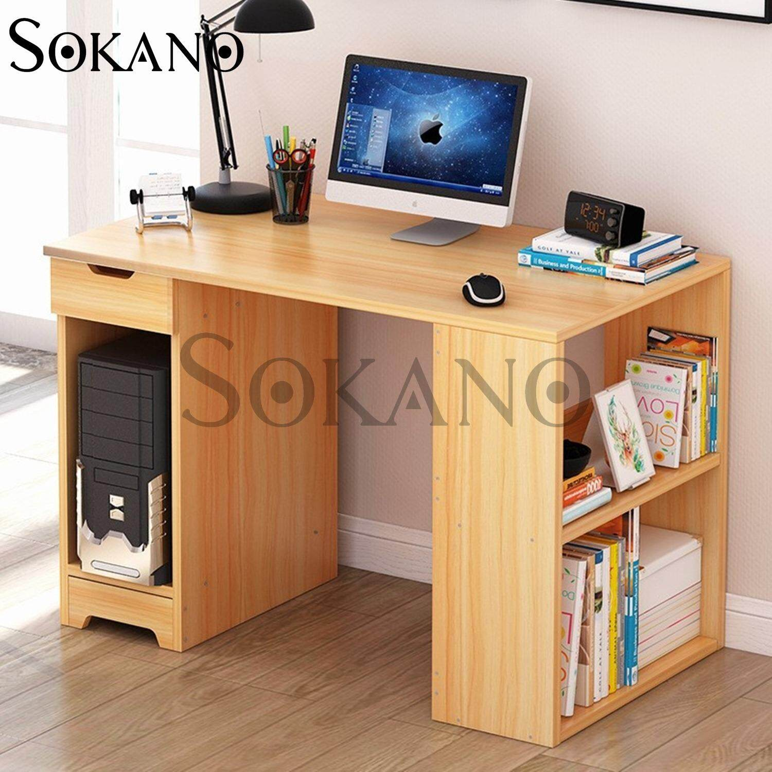 Sokano B2174 Premium Classic Writing Table And Dekstop Wooden Desk Light Brown 21702a Malaysia