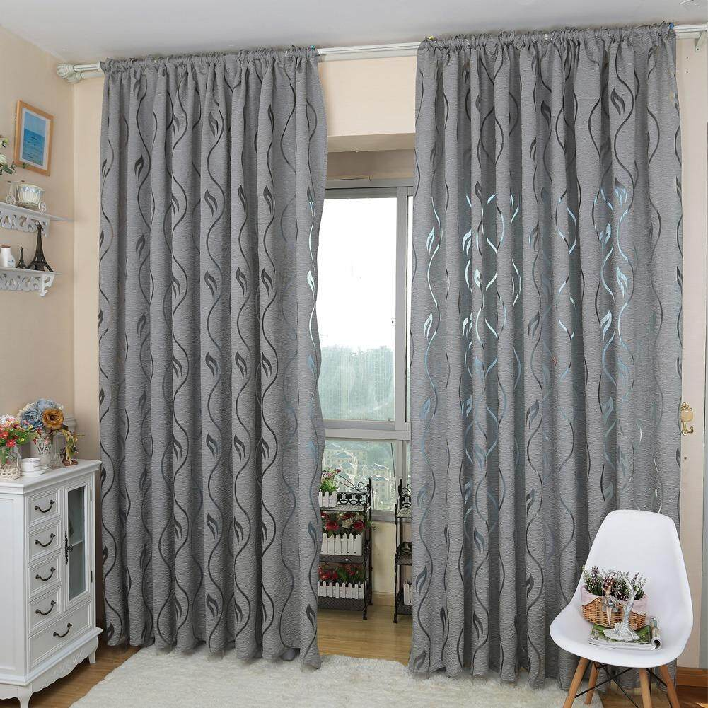 1 PCS European style design jacquard fabrics for window balcony living room European style Window curtain gray - intl
