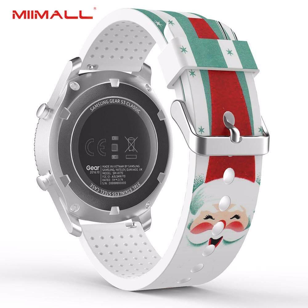 Miimall Gear S3 Klasik/Fromtier Band lembut Silicone Pengganti Cetak Tali Olahraga untuk Samsung Gear S3 Frontier/Samsung Gear S3 Klasik/Motorola MOTO 360 2nd gen 46 Mm Smartwatch-Santa Claus
