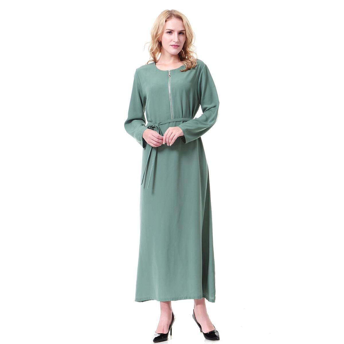 Kualitas Tinggi Busana Wanita Muslim Ritsleting Poliester Abaya Kaftan Lengan Panjang Islam Indonesia Gaun Panjang Jubah