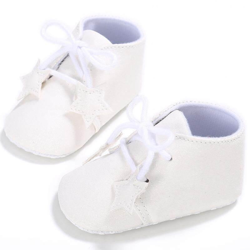 0-18 Bulan Anak-anak Anak Laki-laki Perempuan Hitam Putih Keperakan Merah Muda Cokelat Fahion PU Kulit Bintang Dekorasi Polos Warna Bayi balita Sepatu Non-slip Pertama Walkers Sandal Sepatu-Internasional
