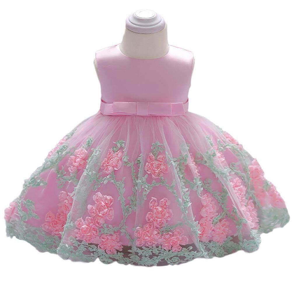 c99c76c368092 Lucky girl Baby Girl Cute Elegant Lace Princess Dress Sleeveless Long-style  Bowknot Flower Skirt