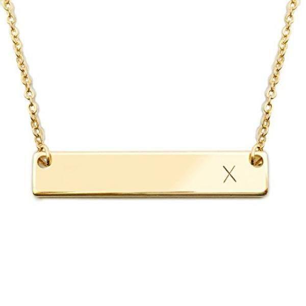 18 K Gold Berlapis Initial Bar Kalung Hari Ibu Wisuda Hadiah 17.5 Inch Bar Yang Dipersonalisasi Kalung (X) -Internasional