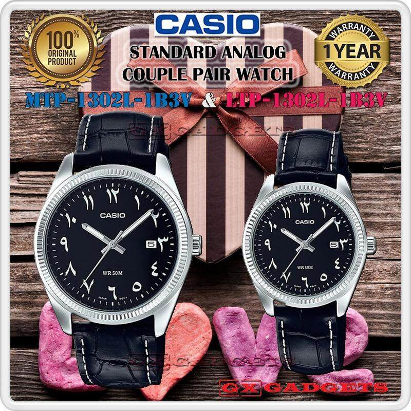 CASIO MTP-1302L-1B3V + LTP-1302L-1B3V STANDARD Analog Couple Pair Watch Date Genuine Leather Band WR50m MTP-1302 LTP-1302 1302 Series Malaysia
