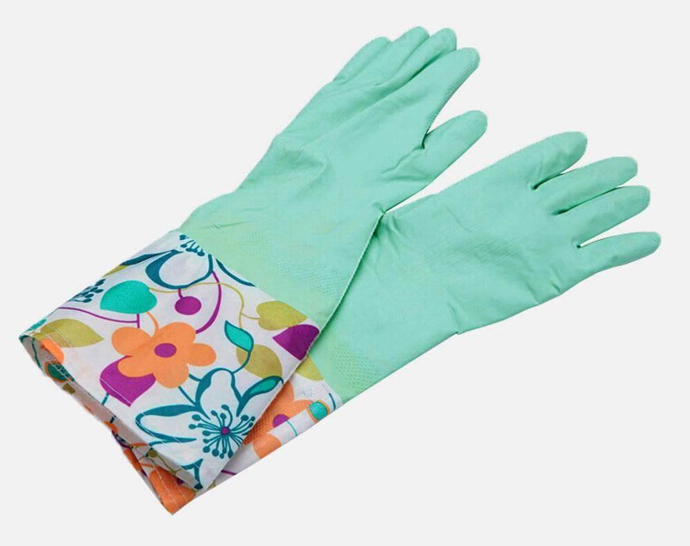 yuwen Single Layer Wide Mouth Rubber Gloves Antiskid Household Laundry Dishwashing Gloves (Cyan)Pattern Random