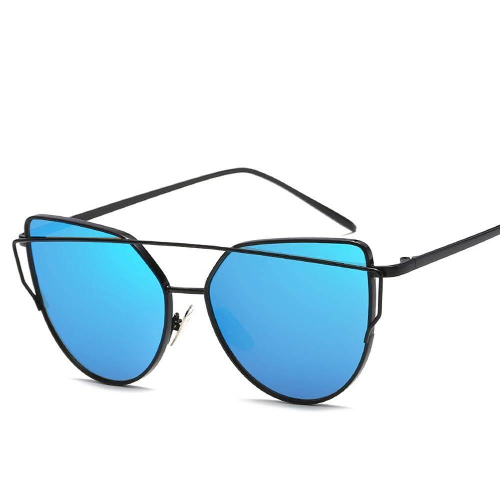 Dsstyles Bingkai Logam Wanita Kacamata Hitam Kucing Mata Lensa Datar Cermin Retro Jalanan Modis Kacamata Hitam Lensa Warna: 5. Cerah Hitam Bingkai Biru Es Spesifikasi: LJ1904/U/35-Internasional
