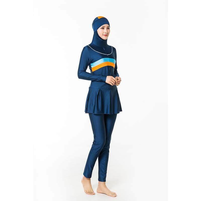 b6be578971a87 Large Plus Size Muslim Swimwear Islamic Women Swimsuit Hooded Two-piece Muslim  Beachwear Swimsuit With