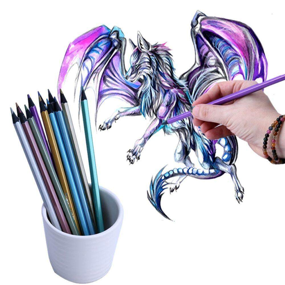 12 PCS/Set Professional Metallic Colored Non-toxic Pencils for Drawing Sketching Set Stationery