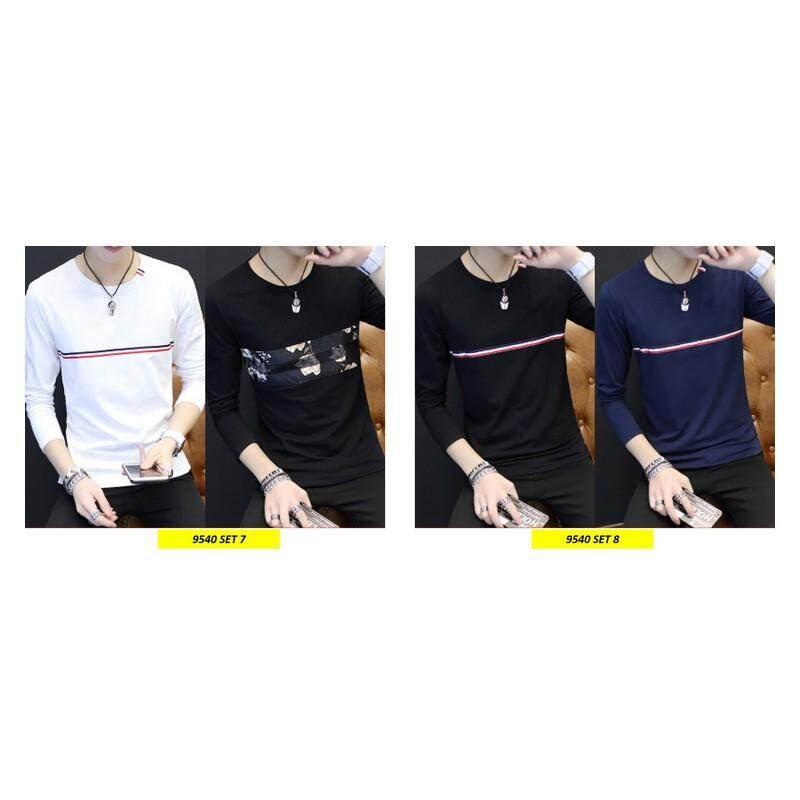 (Pre Order ETA 14/2) Korean Style Men Long Sleeve Shirt Collection 263-9540 Set8 (Black and Navy Blue)