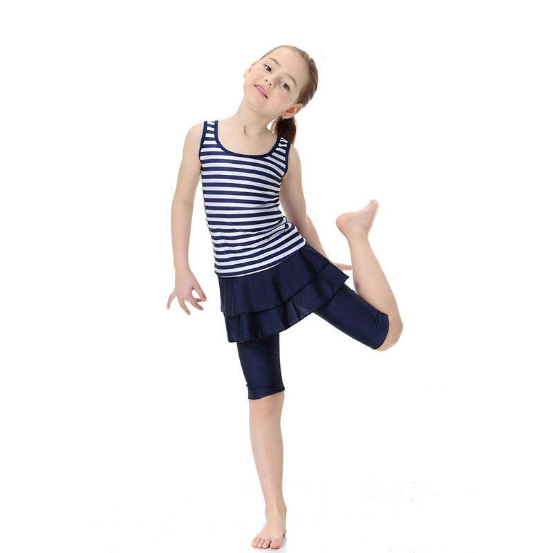 Hình ảnh Ishowmall Muslim Girls Swimwear Split Stripe Swimming Suit Short Sleeve Two-pieces Tops+Pants