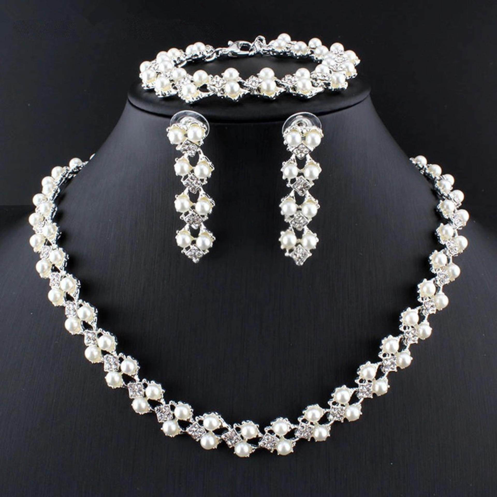 Kehebatan Whyus Tahan Trendi 6 Pairs Set Buatan Mutiara Berlian 1 Perhiasan Perak Elegan Wanita Imitasi Pengantin Kalung Anting Baru Tatahan Gelang