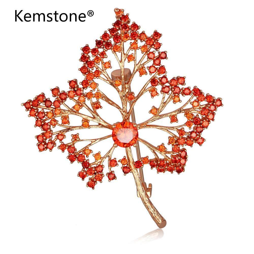 Kemstone Hoa Hồng Mạ Vàng Đính Đá Cubic Zirconia Lá Phong Đỏ Thổ Cẩm Nữ Trang Sức