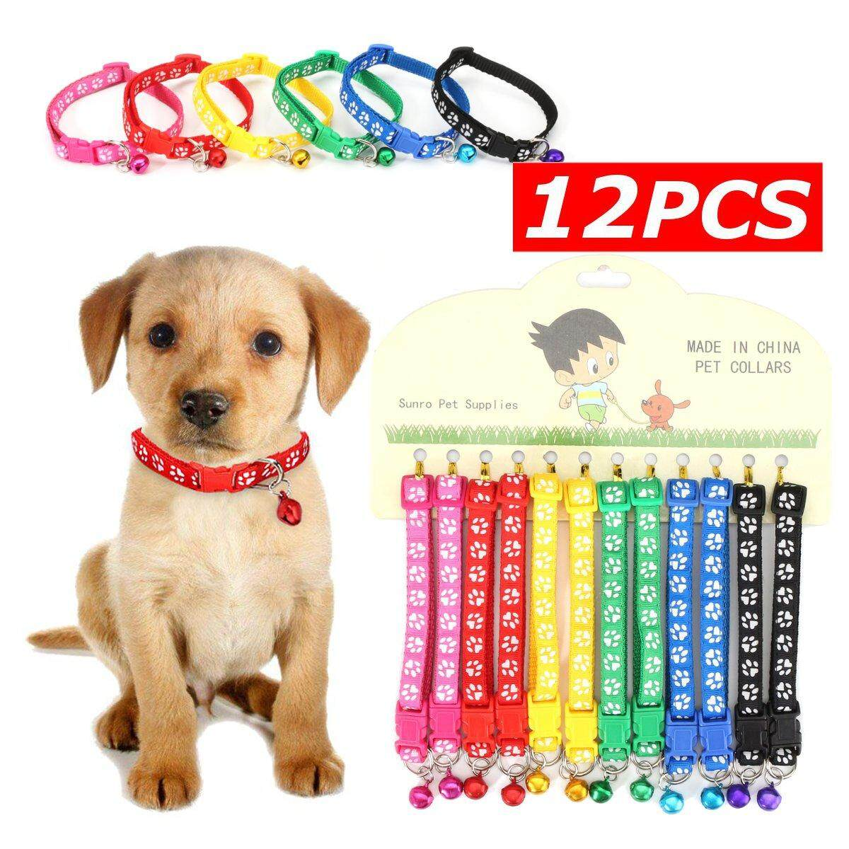 12pcs/lot Dog Collars Pet Cat Nylon Collar With Bell Necklace Buckle Wholesale By Ferry