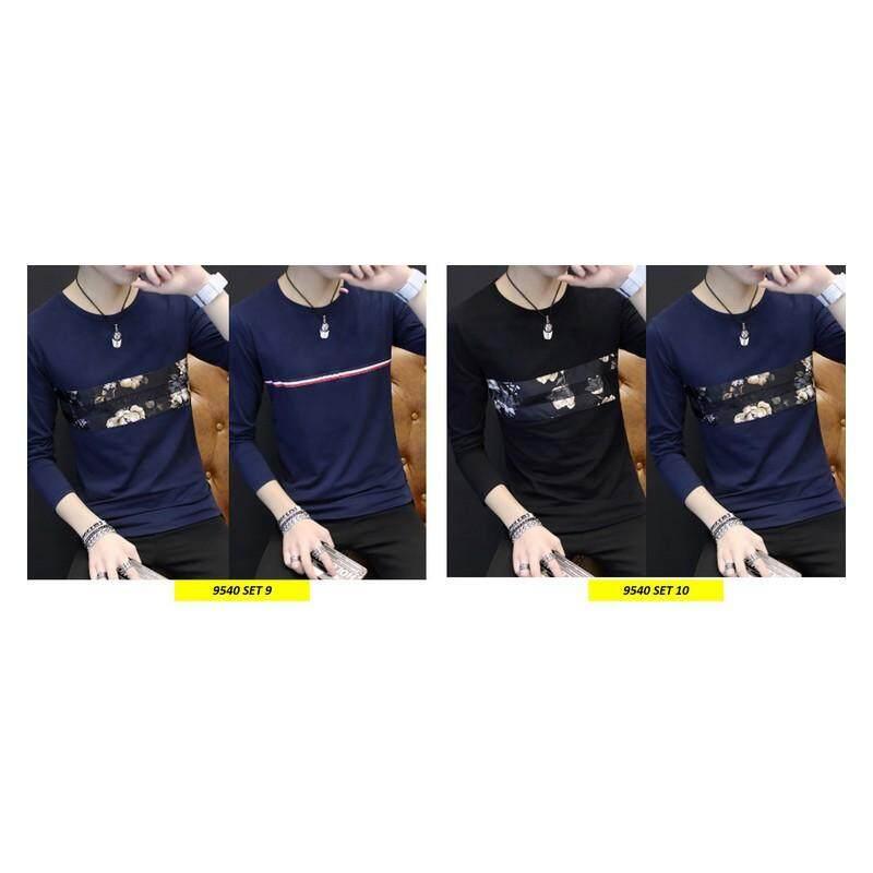 (Pre Order ETA 14/2) Korean Style Men Long Sleeve Shirt Collection 263-9540 Set9 (Navy Blue)
