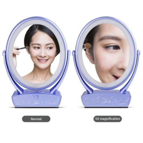 SKM DOUBLE-SIDED LIGHTED MAKEUP MIRROR 5X MAGNIFICATION (LIGHT PURPLE)