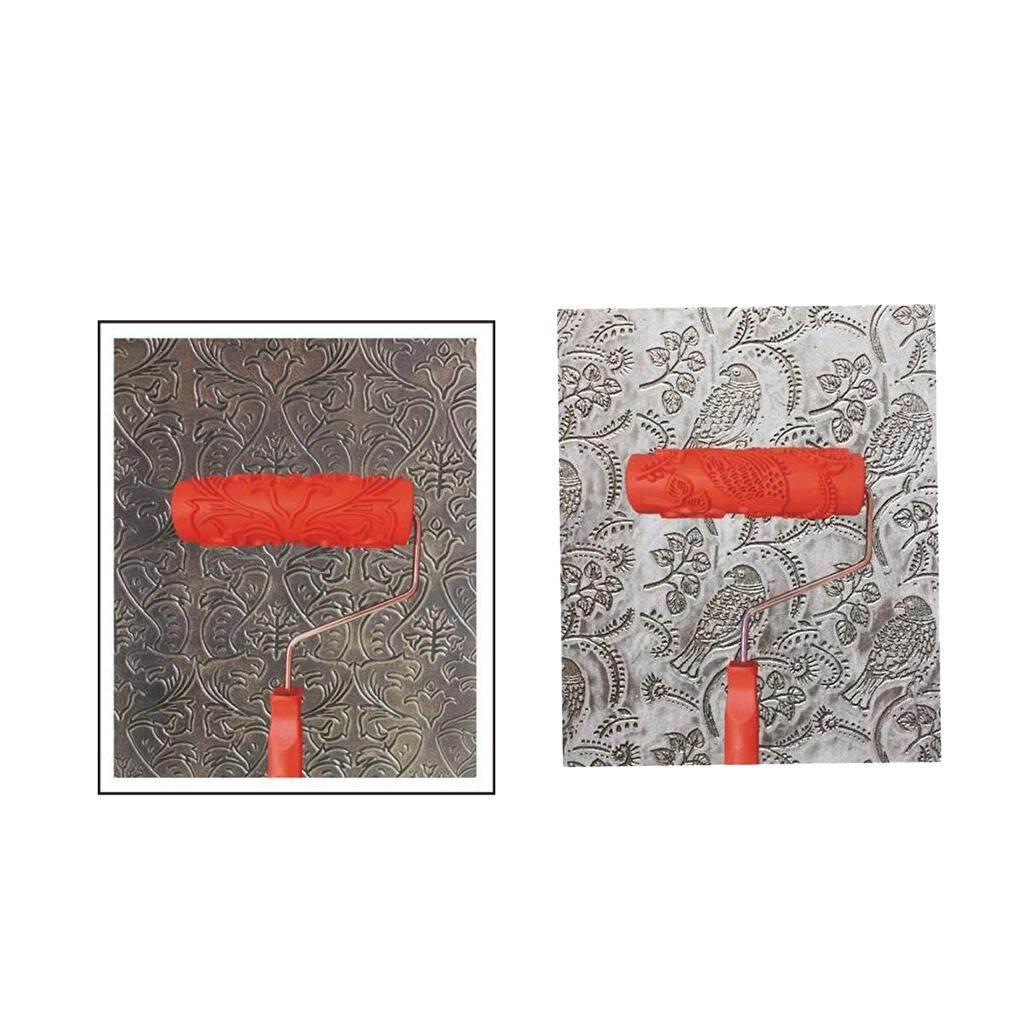 BolehDeals Bộ 2 cái 7 Dập Nổi Họa tiết hoa văn thanh Lăn Dụng Cụ Treo Tường DIY Trang Trí 4 #-quốc tế
