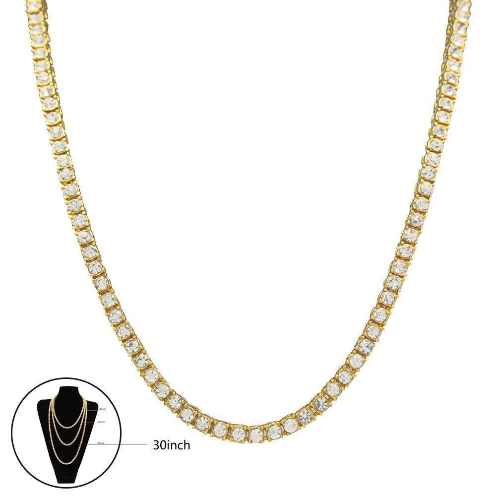 Leegoal Pria Perhiasan Kalung Panggul Hop Penuh Tunggal Dayung Berlian Buatan Rantai Gold/Perak untuk Pria Hadiah-Internasional