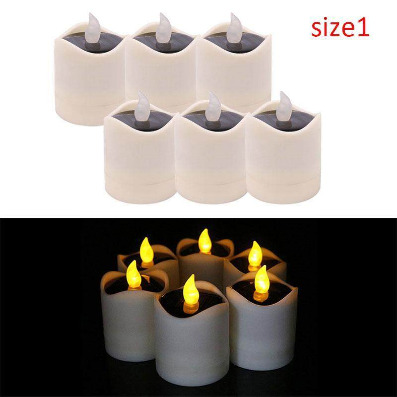 Teepao 6 Pcs Solar Power Yellow Flicker LED Tea Lights Flameless Solar Operated Candles Nightlight For