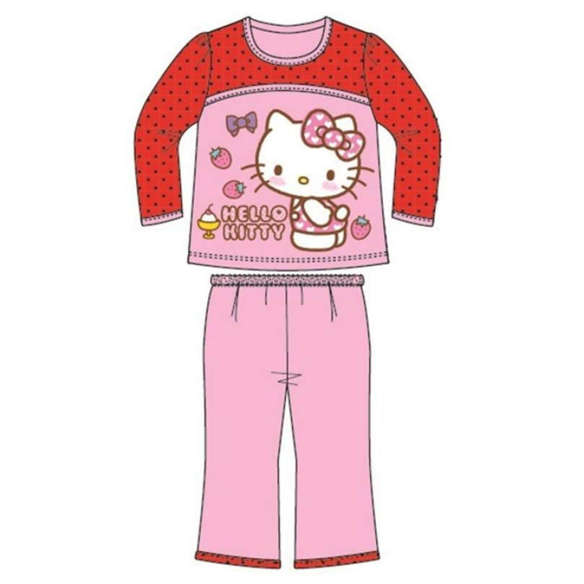Sanrio Hello Kitty Long Sleeve Homewear 100% Cotton 1yrs to 5yrs - Pink and Red Colour