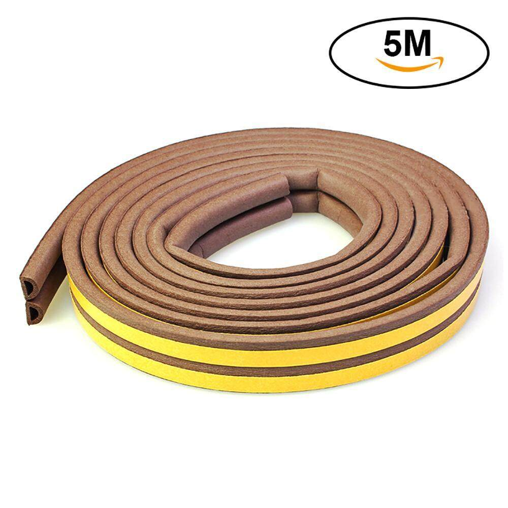 WAWNHENG Seal Strip, Soundproof Indoor Weather Stripping Collision Avoidance Dustproof and Pest Control Self-Adhesive Weatherstrip for Doors and Windows D Type EPDM 16Ft(5M), Black