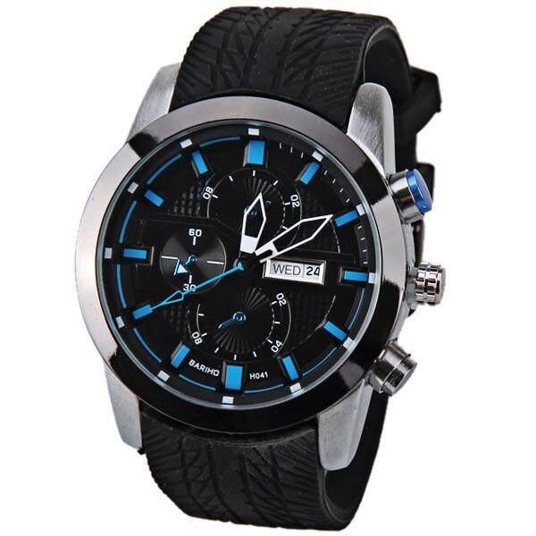 Jinma 2015 Kualitas Tinggi Sport Jam Tangan untuk Pria Karet Strap QUARTZ Watch Casual Relogio Pria Militer Clock Merek Mewah Relojes Lelaki (Biru)